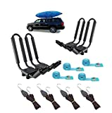 2 Pairs Heavy Duty Kayak Rack-Includes 4 Pcs Ratchet Tie-Mount on Car...