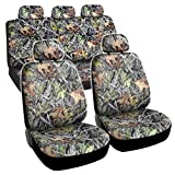 BDK Camo Car Seat Covers Full Set – Realistic Green Forest...