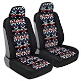 BDK Blue Aztec Pattern Car Seat Covers, Front Seats Only – Geometric...